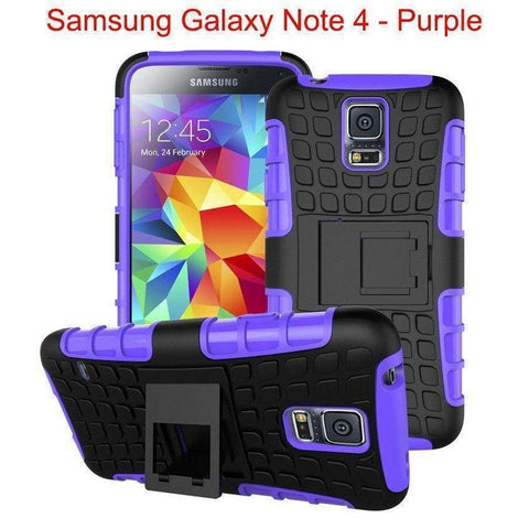 Image of Samsung Galaxy Note 4 Heavy Duty Armor Phone Case Cover with Stand - Purple - Cases