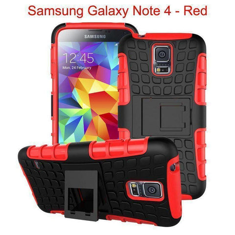 Samsung Galaxy Note 4 Heavy Duty Armor Phone Case Cover with Stand - Red - Cases