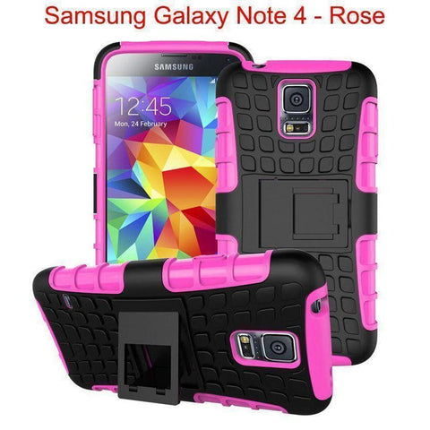 Samsung Galaxy Note 4 Heavy Duty Armor Phone Case Cover with Stand - Rose - Cases