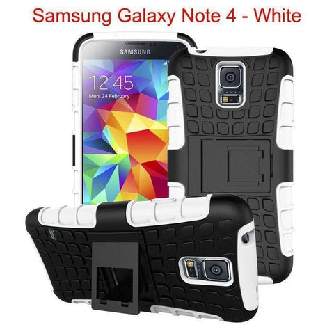 Image of Samsung Galaxy Note 4 Heavy Duty Armor Phone Case Cover with Stand - White - Cases