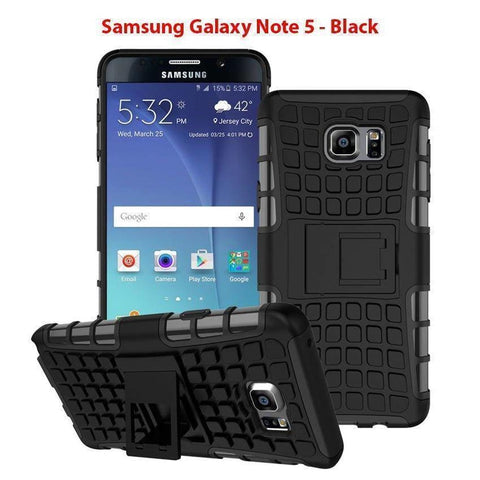 Image of Samsung Galaxy Note 5 Heavy Duty Armor Phone Case Cover with Stand - Black - Cases