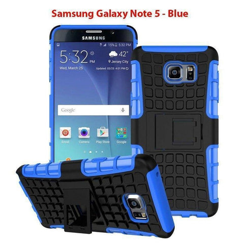 Image of Samsung Galaxy Note 5 Heavy Duty Armor Phone Case Cover with Stand - Blue - Cases