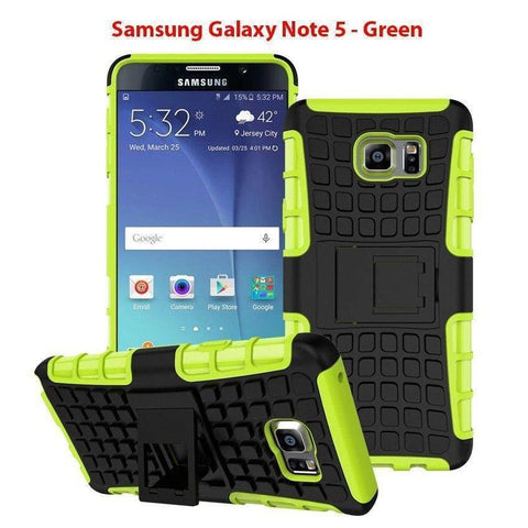 Image of Samsung Galaxy Note 5 Heavy Duty Armor Phone Case Cover with Stand - Green - Cases