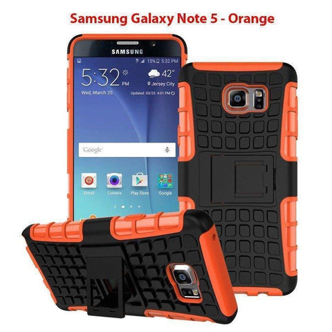 Image of Samsung Galaxy Note 5 Heavy Duty Armor Phone Case Cover with Stand - Orange - Cases