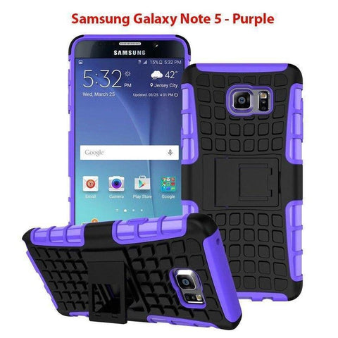 Image of Samsung Galaxy Note 5 Heavy Duty Armor Phone Case Cover with Stand - Purple - Cases
