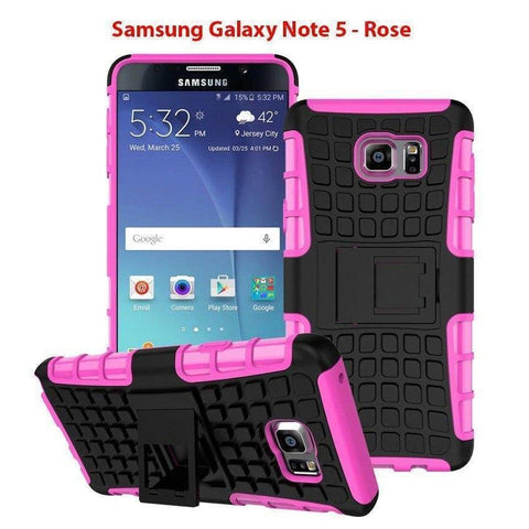 Image of Samsung Galaxy Note 5 Heavy Duty Armor Phone Case Cover with Stand - Rose - Cases