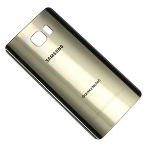 Samsung Galaxy Note 5 Rear Back Glass Battery Cover Door with Adhesive - Gold - Battery Covers