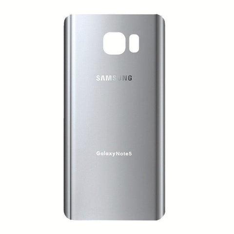Samsung Galaxy Note 5 Rear Back Glass Battery Cover Door with Adhesive - Silver - Battery Covers