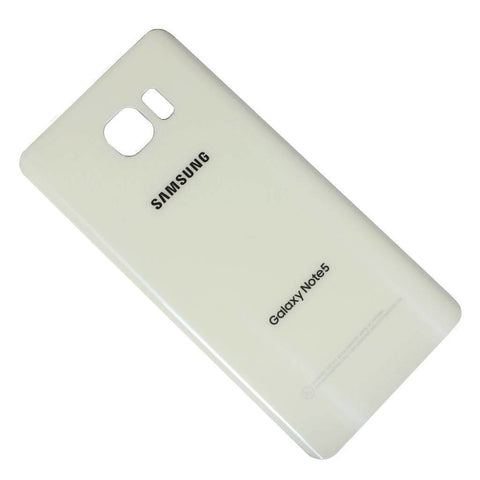 Samsung Galaxy Note 5 Rear Back Glass Battery Cover Door with Adhesive - White - Battery Covers