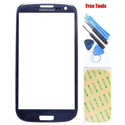 Image of Samsung Galaxy S3 Blue Front Glass Lens with Adhesive and Free Tools - Front Glass