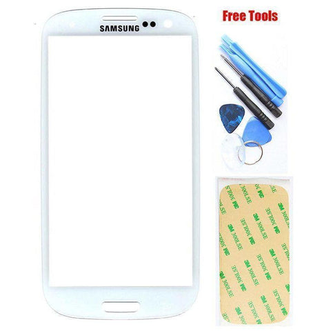 Image of Samsung Galaxy S3 White Front Glass Lens with Adhesive and Free Tools - Front Glass