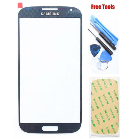 Samsung Galaxy S4 Blue Front Glass Lens with Adhesive and Free Tools - Front Glass