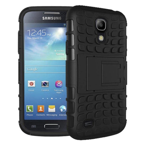 Image of Samsung Galaxy S4 Heavy Duty Armor Phone Case Cover with Stand - Black - Cases