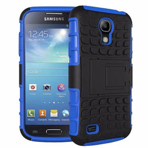 Samsung Galaxy S4 Heavy Duty Armor Phone Case Cover with Stand - Blue - Cases