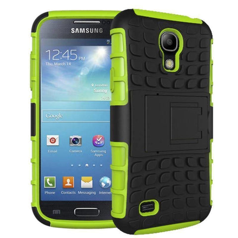 Image of Samsung Galaxy S4 Heavy Duty Armor Phone Case Cover with Stand - Green - Cases