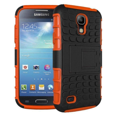 Image of Samsung Galaxy S4 Heavy Duty Armor Phone Case Cover with Stand - Orange - Cases