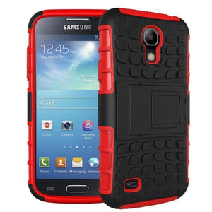 Samsung Galaxy S4 Heavy Duty Armor Phone Case Cover with Stand - Red - Cases
