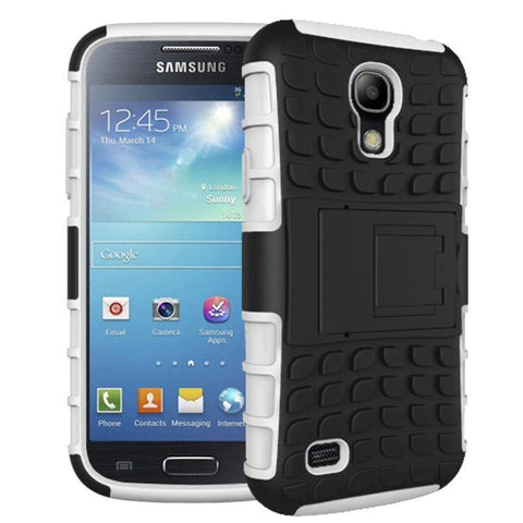 Image of Samsung Galaxy S4 Heavy Duty Armor Phone Case Cover with Stand - White - Cases