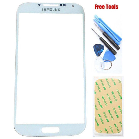 Image of Samsung Galaxy S4 White Front Glass Lens with Adhesive and Free Tools - Front Glass
