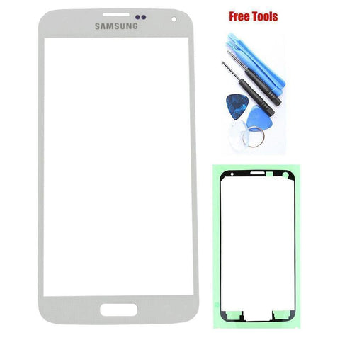 Image of Samsung Galaxy S5 White Front Glass Lens with Adhesive and Free Tools - Front Glass