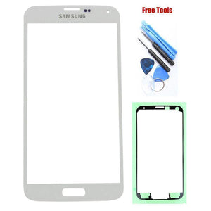 Samsung Galaxy S5 White Front Glass Lens with Adhesive and Free Tools - Front Glass