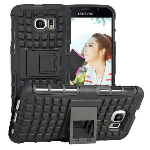 Samsung Galaxy S6 Heavy Duty Armor Phone Case Cover with Stand - Black - Cases