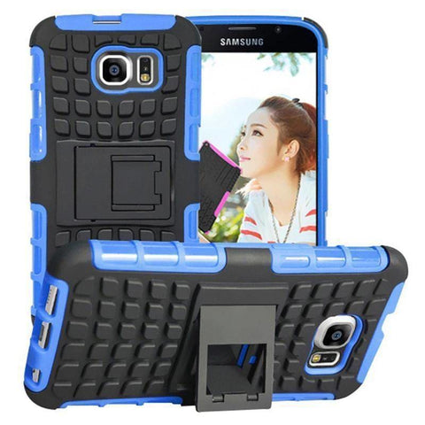 Samsung Galaxy S6 Heavy Duty Armor Phone Case Cover with Stand - Blue - Cases