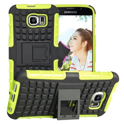 Samsung Galaxy S6 Heavy Duty Armor Phone Case Cover with Stand - Green - Cases