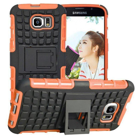 Samsung Galaxy S6 Heavy Duty Armor Phone Case Cover with Stand - Orange - Cases