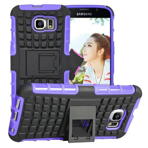 Samsung Galaxy S6 Heavy Duty Armor Phone Case Cover with Stand - Purple - Cases