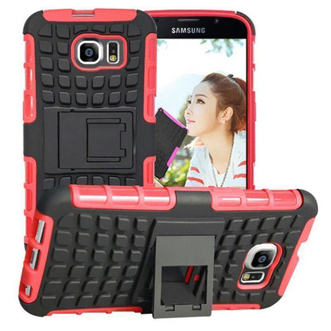 Samsung Galaxy S6 Heavy Duty Armor Phone Case Cover with Stand - Red - Cases
