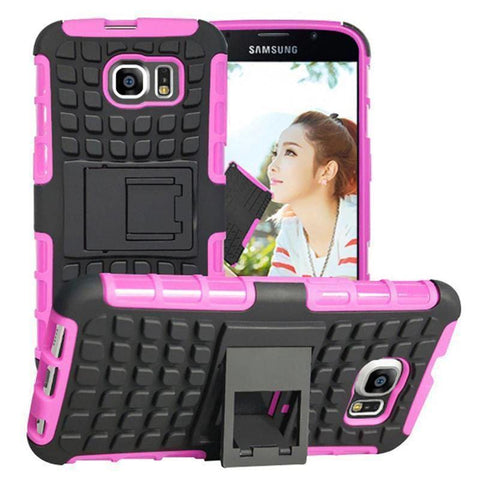 Samsung Galaxy S6 Heavy Duty Armor Phone Case Cover with Stand - Rose - Cases