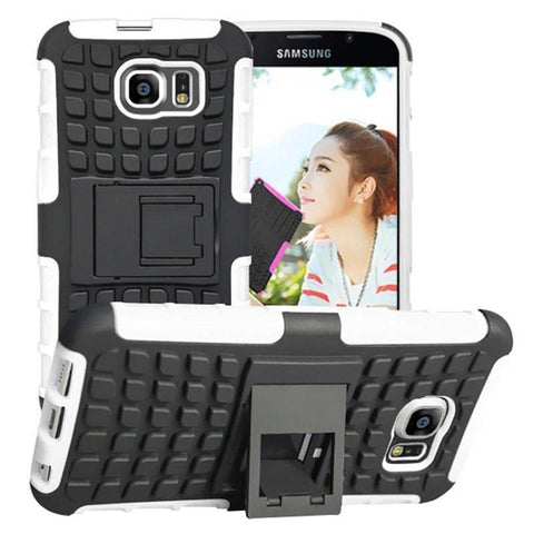 Samsung Galaxy S6 Heavy Duty Armor Phone Case Cover with Stand - White - Cases