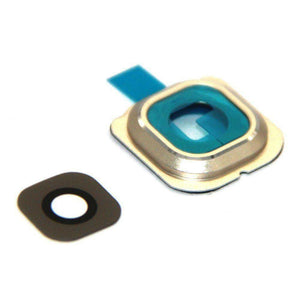 Samsung Galaxy S6 Rear Camera Lens Glass Cover and Bezel with Adhesive - Gold - Camera Lens Cover