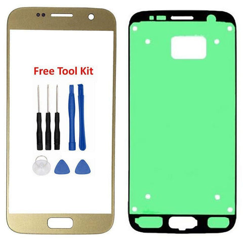 Samsung Galaxy S7 Front Glass Lens with Adhesive and Free Tools - Gold - Front Glass