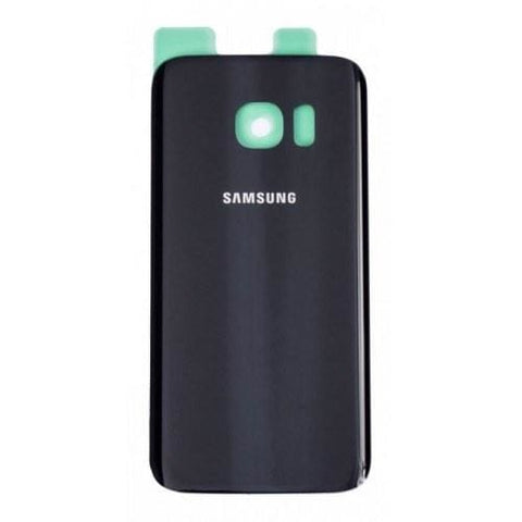 Image of Samsung Galaxy S7 Rear Back Battery Cover Door with Adhesive - Black - Battery Covers