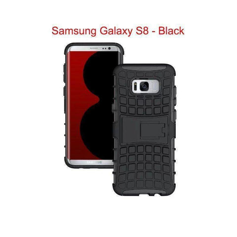 Image of Samsung Galaxy S8 Heavy Duty Armor Phone Case Cover with Stand - Black - Cases