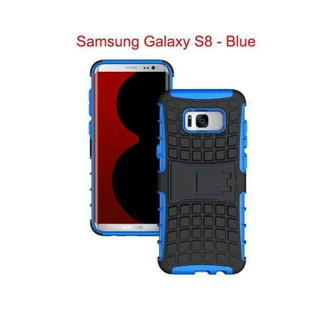 Image of Samsung Galaxy S8 Heavy Duty Armor Phone Case Cover with Stand - Blue - Cases