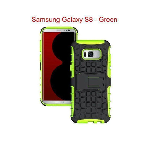 Samsung Galaxy S8 Heavy Duty Armor Phone Case Cover with Stand - Green - Cases