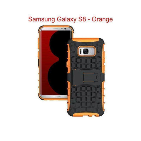 Samsung Galaxy S8 Heavy Duty Armor Phone Case Cover with Stand - Orange - Cases