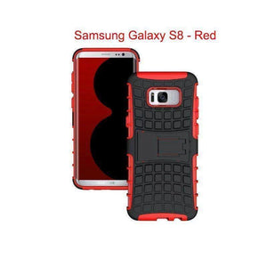 Samsung Galaxy S8 Heavy Duty Armor Phone Case Cover with Stand - Red - Cases
