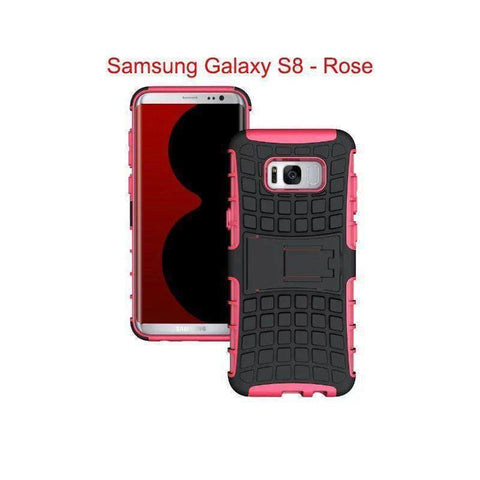Image of Samsung Galaxy S8 Heavy Duty Armor Phone Case Cover with Stand - Rose - Cases