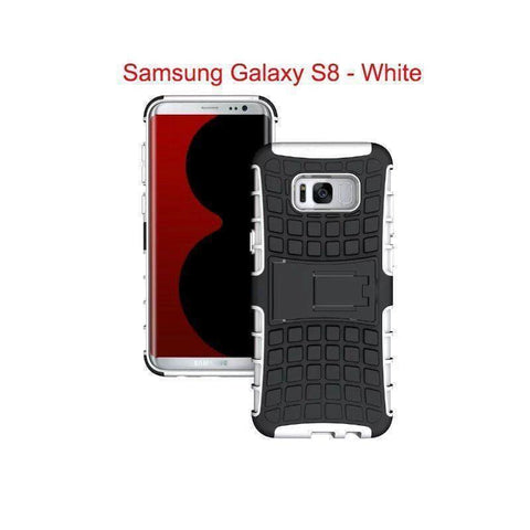 Samsung Galaxy S8 Heavy Duty Armor Phone Case Cover with Stand - White - Cases