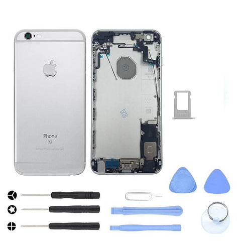 Silver Back Housing Mid Frame Assembly + Parts iPhone 6S Plus A1634 A1687 A1699 - With Tool Kit - Housing Assembly