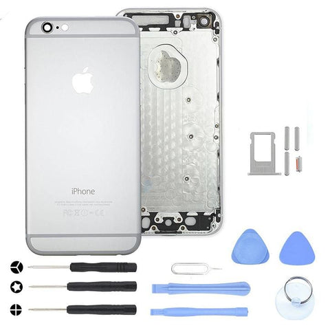 Silver Back Housing Mid Frame Assembly Replacement iPhone 6 A1549 A1586 A1589 - With Tool Kit - Housing Assembly