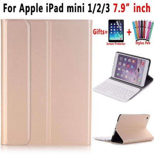 Slim ABS Removable Wireless Bluetooth Keyboard Smart Leather Case Cover for Apple iPad mini 1 2 3 - Accessories