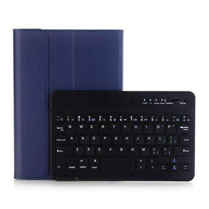 Slim ABS Removable Wireless Bluetooth Keyboard Smart Leather Case Cover for Apple iPad mini 1 2 3 - Dark blue - Accessories