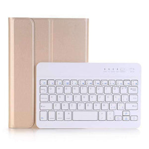 Slim ABS Removable Wireless Bluetooth Keyboard Smart Leather Case Cover for Apple iPad mini 1 2 3 - Gold - Accessories