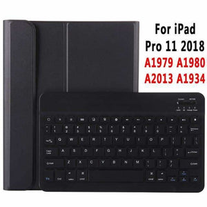 Slim Bluetooth Keyboard Case for Apple iPad 9.7 2017 2018 Air 1 2 3 10.5 2019 Pro 11 12.9 2018 mini 5 Cover with Pencil Slot - Black for Pro