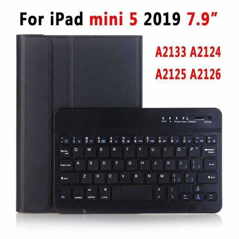 Slim Bluetooth Keyboard Case for Apple iPad 9.7 2017 2018 Air 1 2 3 10.5 2019 Pro 11 12.9 2018 mini 5 Cover with Pencil Slot - Black for